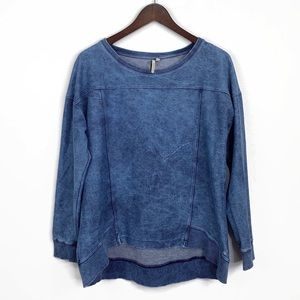 Calvin Klein Blue Acid Wash Sweatshirt | M